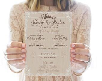 Printed OR Printable Wedding Program // Burlap & Lace