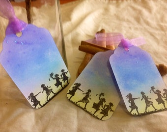 Set of 8 Handmade Twilight Children Playing-Tags/Favours/Gift etc