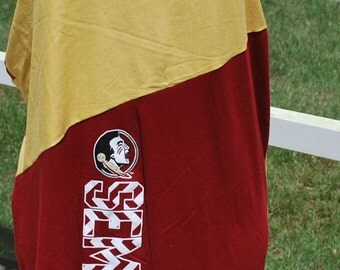 FSU Florida State University Noles Dress Tunic / Mini Dress Upcycled T-Shirts Custom Made