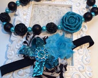 Tiffany blue necklace and headband