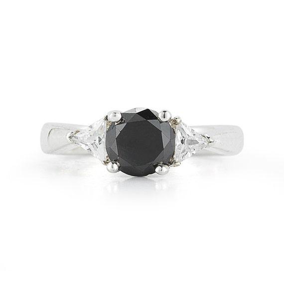 1 43 Carat Black Diamond Ring Three Stone Diamond Engagement