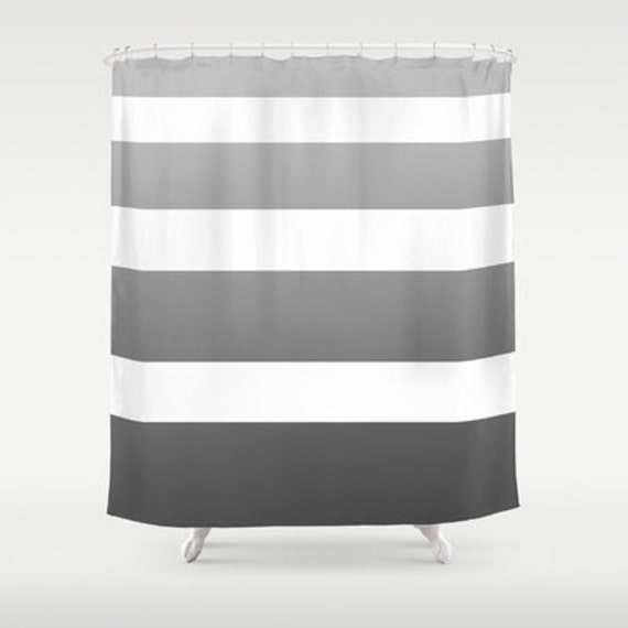 Grey and white shower curtain
