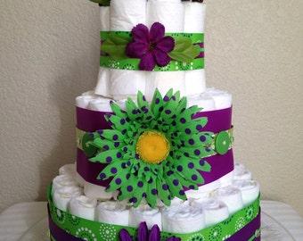 purple and green diaper cake