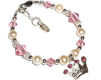 Children's Sterling Silver Princess Bracelet for Girls with Pink Crystals and Tiara (014)