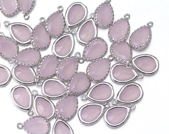 10% OFF (10 Pieces) . Ice Pink Glass Pendant . Wholesale Jewelry Supply. Polished Original Rhodium Plated over Brass  / 10 Pcs - AG008-PR-IP