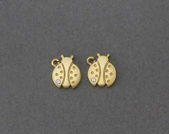 Ladybug Brass Pendant . Wedding Jewelry, Bridal Jewelry . 16K Matte Gold Plated over Brass  / 4 Pcs - GC081-MG-CR