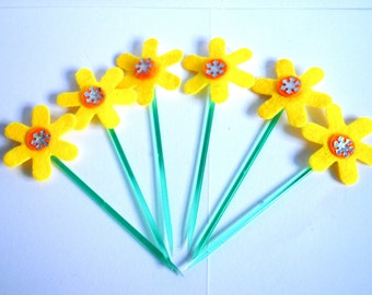Spring  flowers  felt  cupcake toppers  with picks  colours Orange,blue,red,yellow lime