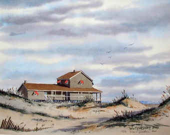 Nags Head, North Carolina - Outer Banks - Watercolor  Print - Limited Ed. Beach  art, seascape, painting, Atlantic ocean