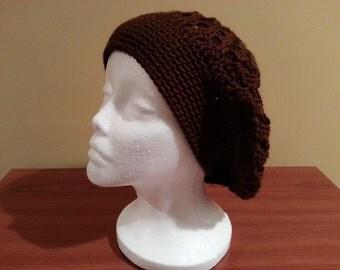 SALE**Women's Crochet Beret in Chocolate Brown