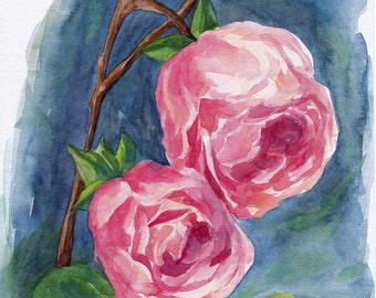 Original Aquarell, Roses, Painting, Watercolor, Handpainted,  7,6 x11,6 inch. NOT a print. Tatiana-Art
