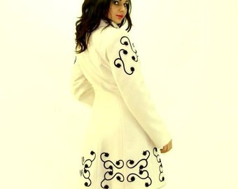 White Winter Coat/ Wool Coat/ Embroidered Coat/ Custom to Fit Coat Mildred