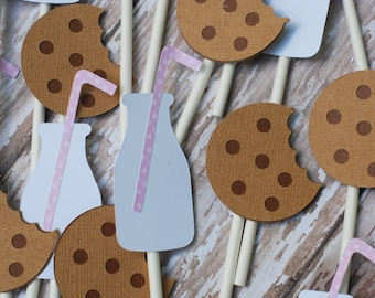 Cookies and Milk Cupcake Toppers (set of 12)