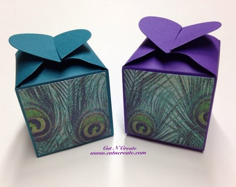 Peacock Wedding Favors Peacock Feathers Peacock Favor Boxes Purple Favors Teal Favors 80 Included