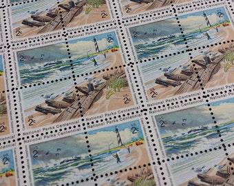 2 Cent stamp, Vintage Unused Postage Stamps, Cape Hatteras National Seashore, Full sheet of 100 Unused Stamps