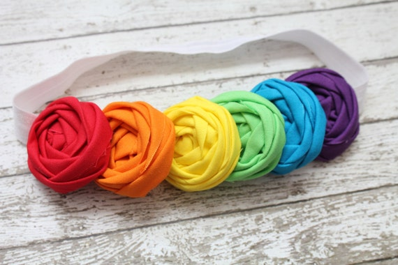 Rainbow Bright Rosettes Baby Headband