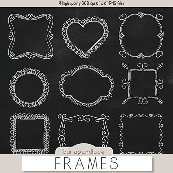 Chalkboard Frames Clipart Hand Drawn Clipart Borders