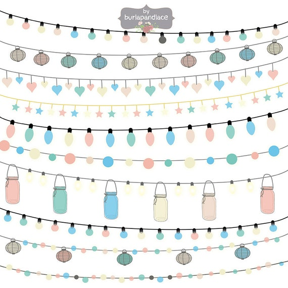 String Lights Clipart No Background : Items similar to String Lights Clipart color, wedding invitation, Clipart lights, Party Lights ...