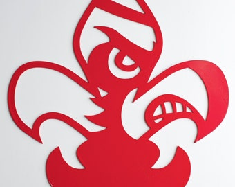 "4-1/2"" Cardinal Head in a Fleur De Lis Ornament"