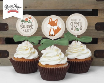 Cupcake Toppers - Woodland Baby Shower // INSTANT DOWNLOAD // Favor Tags // Fox Shower Decor // Gender Neutral // Digital Printable BS03