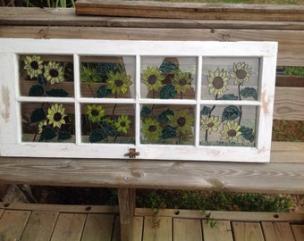 White Distressed Vintage Window with Painted Sunflowers