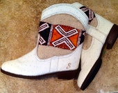 Handcrafted Moroccan Tan Kilim Boot in White Leather