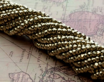 Gold Pyrite Bead Strands 50ct (B14)