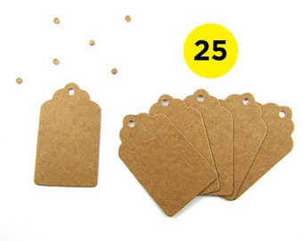 25 Scalloped Kraft Gift Tags 4x7cm - Product Tags - Wedding Favour Tags
