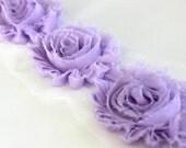 1/2 Yard Lavender Shabby Flower Trim, Wholesle Flowers, Shabby Chiffon Flowers, Shabby Rose Trim, Headband Supplies, Hair Bow Supplies