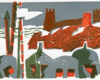 "Linocut ""Genoese fortress """
