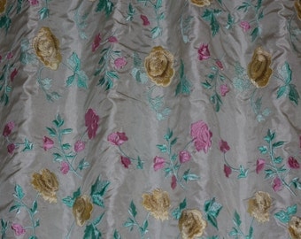 """Ivory Silk Taffeta w/ Flowery Embroidery 100% Silk Fabric, 54"""" Wide, By the Yard (EB-951A)"""