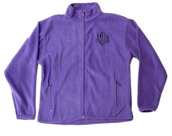 Monogrammed Purple Fleece Jacket