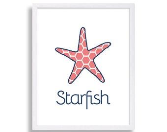 Nautical Baby Room Starfish Print Home Decor Decorating Ideas Nursery Decor Bathroom Decor Childrens Room Art Nursery Artwork Baby Room Art
