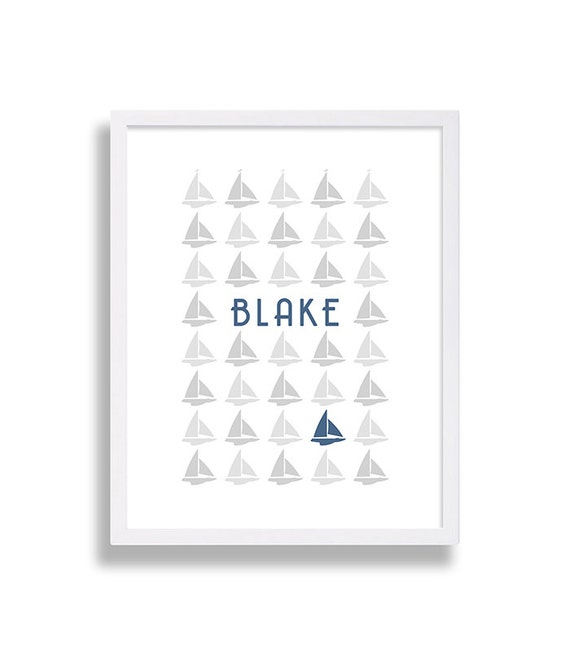 Nautical Nursery Decor Baby Boy Name Print Sailboat Nursery - cheap home decor for nautical nursery