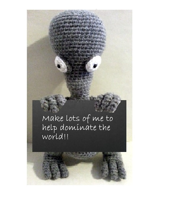 Xenomorph Knitting Pattern : Crochet Amigurumi Pattern Roger the Alien instant pattern