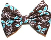 Floral Flower Petal Print Pattern Design Fabric Material  Blue White Brown Hair Bow Bows Accessories Accessory Made For Girls Teens Women