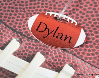 Football Bag Tag - Baseball Bag Tag - {Double Sided}  * Notlaminated Custom bag tag - Sports bag tag - Kids bag tag