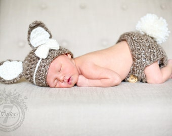 Crocheted bunny diaper cover and hat set, bunny  photo prop, crocheted bunny costume, baby accessory