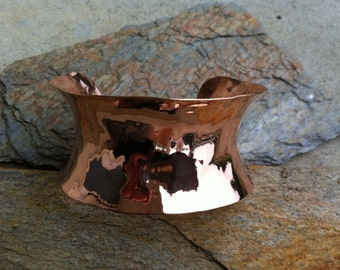 Polished Hammered Copper Cuff Bracelet