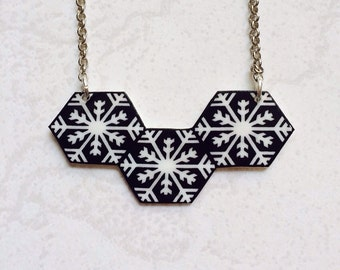 Snowflakes geometric pattern Pendant Necklace, Shrink Plastic Jewelry --- Gift box included