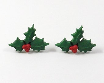 Holly Earrings - Tiny Holly Earrings - Christmas Stud Earring - Christmas Post Earrings - Christmas Jewelry - Gift Under 10