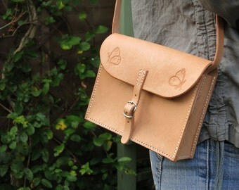 Small leather shoulder bag, hand-stitched with butterfly motif