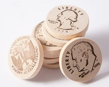 Wooden money coins, play money, American cents, math game, wooden toys, eco friendly toys.