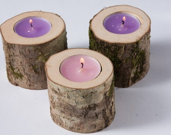 5 rustic candle holders tea light holder woodland wedding centerpiece rustic wedding decor