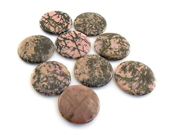 Beads Large Rhodonite Puff Coins 35mm