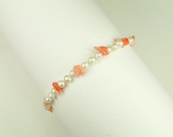 Bracelet with White Pearls and Corals (Βραχιόλι με Λευκά Μαργαριτάρια και Κοράλια)