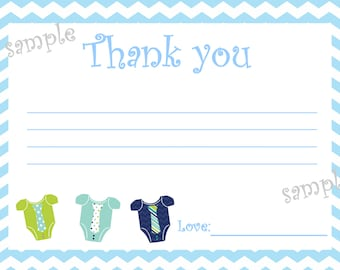Printable Baby Boy Thank you Cards 4 x 6 DIY