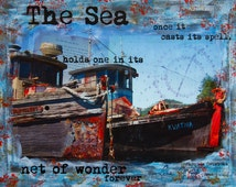 Fishing Boats Art Painting Print, Jacques Cousteau, Fisherman Beach Cabin Sea Decor, Canada BC Pender Harbour, Mixed Media 'Lulu Island'