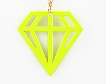 NEON DIAMOND PENDANT  - Fluorescent Neon Yellow  Diamond Cut Out Pendant Charm (4.7cm x 4.7cm)