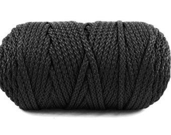 6mm BLACK MACRAME CORD - Black Macrame Craft Cord (6mm diameter) sold by 5m length