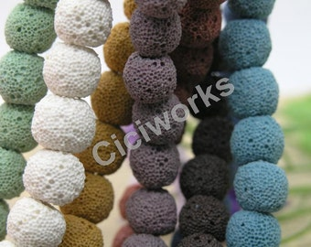 100pcs Mixed Color lava stone beads ,  round shape lava beads - 8mm,10mm,12mm you pick GD100B52